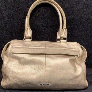B Makowsky gold satchel bag